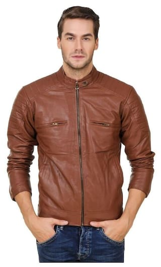 Leather Retail Men Red Solid Leather jacket