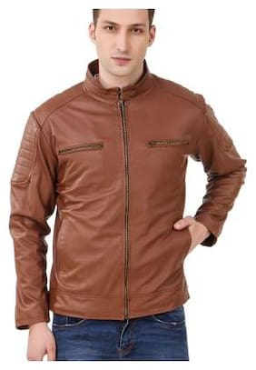 Leather Retail Men Brown Solid Leather jacket