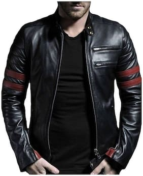 Leather Retail Men Black Striped Leather jacket - Black