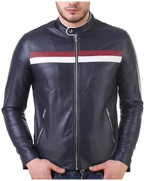 Leather Retail Men Blue Solid Leather jacket - Blue