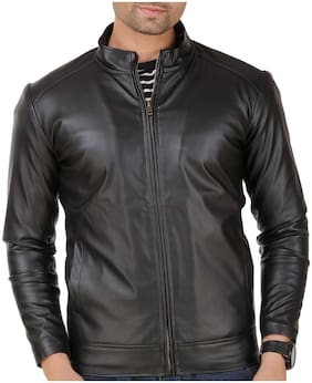 Leather Retail Faux Plain  Leather Jacket For Man