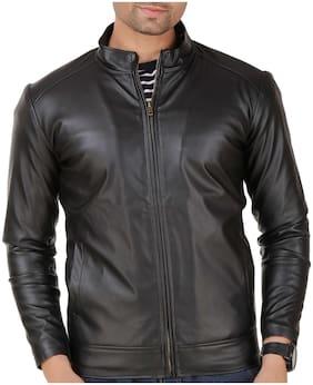 Men Leather Long Sleeves Leather Jacket