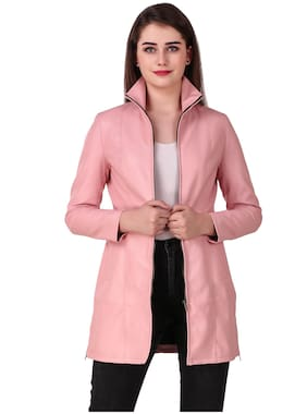 Leather Retail Women Solid Leather Jacket - Pink