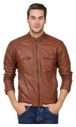 Leather Retail Men Brown Solid Leather jacket - Brown