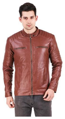 Leather Retail Biker Digital Printed Brown Faux leather jacket For Men