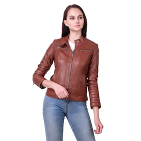 Leather Retail Brown Faux Leather Jacket for Female