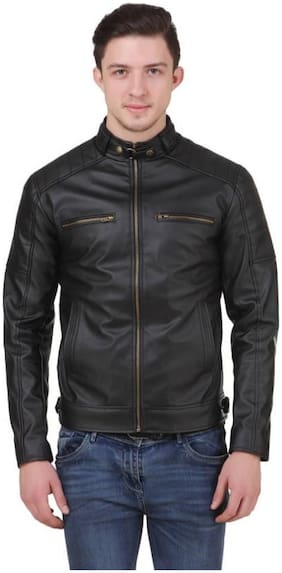 Leather Retail Black Faux Leather Designer Jacket For Man