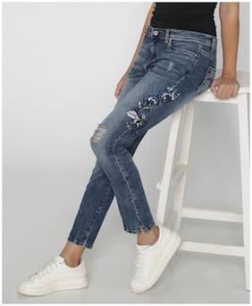 Lee Cooper Women Slim Fit Mid Rise Self Design Jeans - Blue
