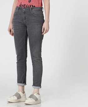 Lee Cooper Women Slim Fit Mid Rise Washed Jeans - Grey