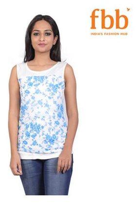 Lee Cooper Women Blended Floral - Regular Top Blue