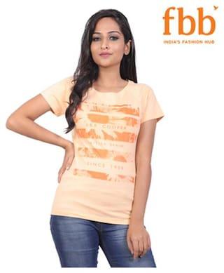 Lee Cooper Women Cotton Printed - Regular top Orange