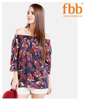 Women Printed Boat Neck Top