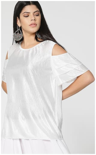 Lee Cooper Women Polyester Solid - Regular Top White