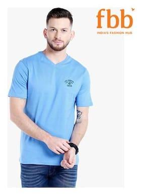 Lee Cooper Solid Mens Blue T-shirt
