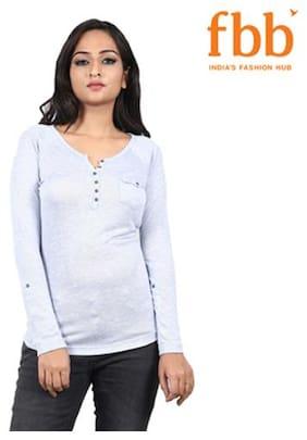 Lee Cooper Solid Womens Blue Top