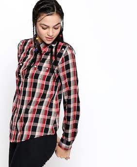 Lee Cooper Women Regular Fit Solid Shirt - Red