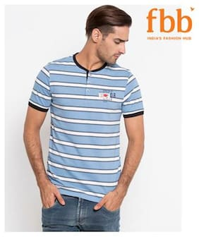 Men V Neck Striped T-Shirt