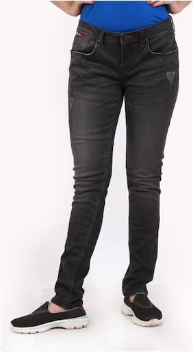Lee Cooper Women Regular Fit Mid Rise Solid Jeans - Black