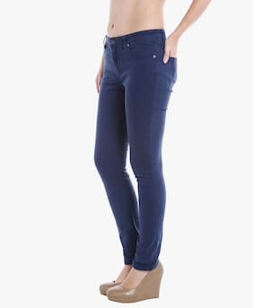 Lee Cooper Women Regular Fit Mid Rise Solid Jeans - Blue