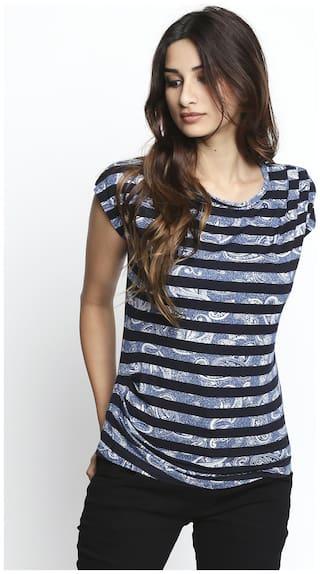 Lee Cooper Women Blue Regular fit Round neck Viscose rayon T shirt