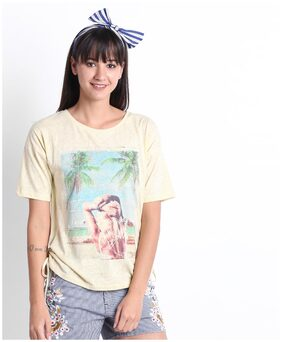 Lee Cooper Women Blended Printed - A-line Top Yellow