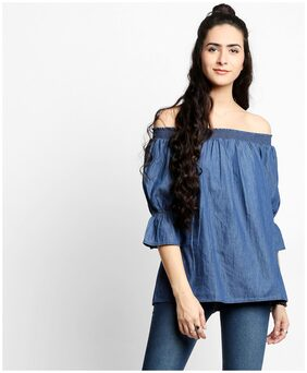 Lee Cooper Women Cotton Printed - A-line Top Blue