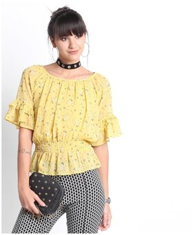 Lee Cooper Women Polyester Printed - A-line Top Yellow