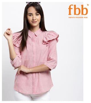Lee Cooper Women Pink Printed Regular Fit Shirt