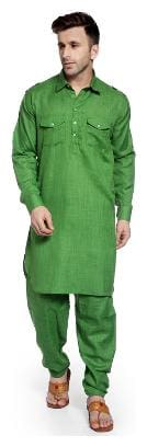 Hangup green color pathani kurta sets for mens size:40