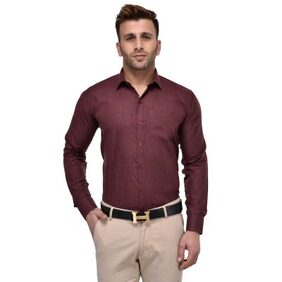 Lee Marc Men's Formal Maroon Shirt