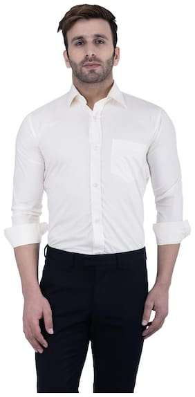 Hangup Men Slim Fit Formal Shirt - White