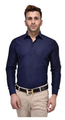 Hangup Navy Blue Color Cotton Blend Regular Fit Shirt