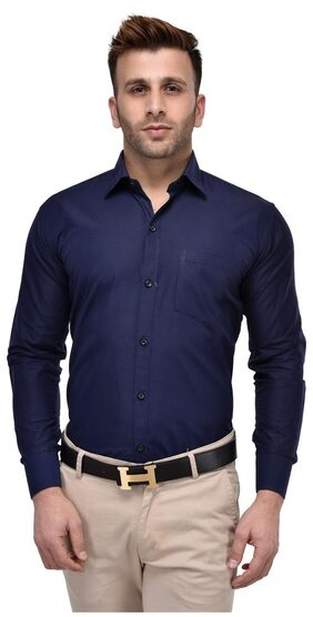 Hangup Men Regular Fit Formal Shirt - Blue