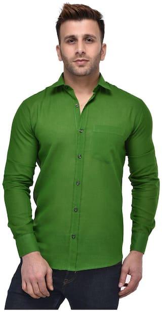 Hangup Men Green Solid Regular Fit Casual Shirt