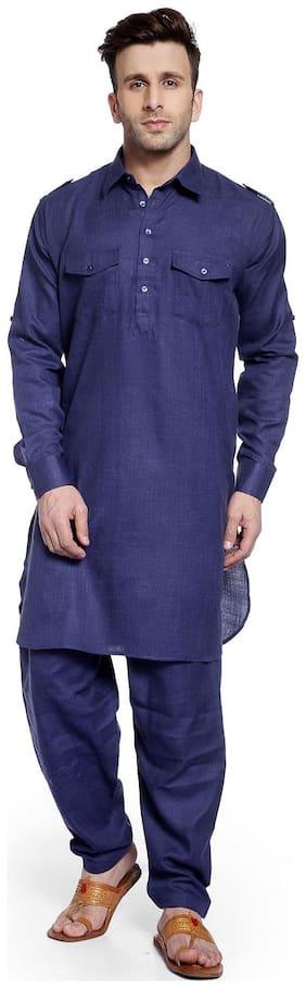 Hangup navy blue color pathani kurta sets for mens size:38