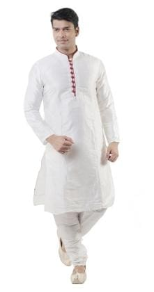 875823c954c Hangup Men Regular Fit Cotton Full Sleeves Solid Kurta Pyjama - White