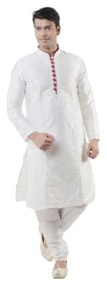 Hangup Men Regular Fit Cotton Full Sleeves Solid Kurta Pyjama - White