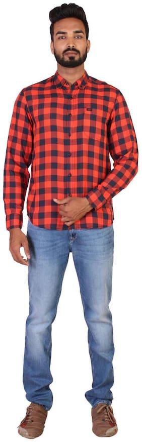 Men Polo Neck Checked T-Shirt