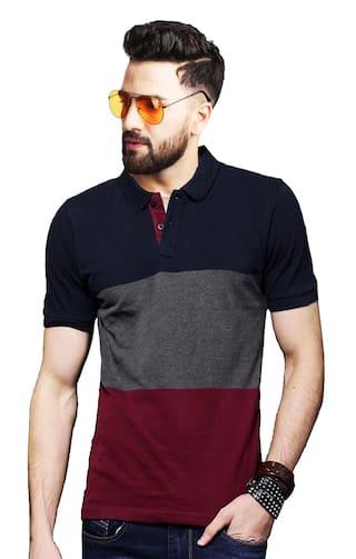 LEOTUDE Men Multi Regular fit Cotton Blend Polo Collar T-Shirt
