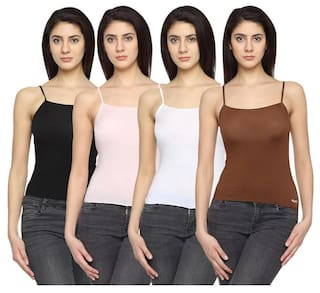 fd5387b8e988 Buy Lequeens Women's Camisole Slips ( Pack of 4 ) Online at Low ...