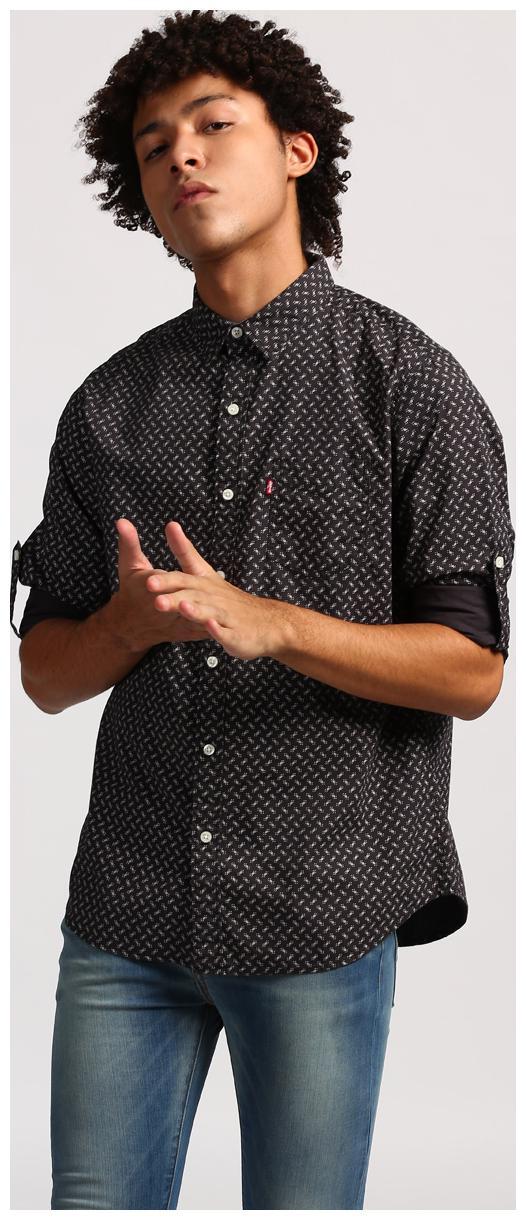 Levi\'s Men Black Printed Slim Fit Casual Shirt