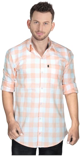 LEVIZO Men Orange & White Checked Regular Fit Casual Shirt