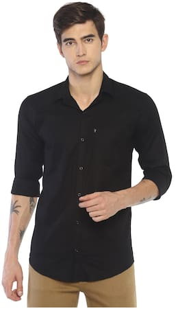LEVIZO Men Black Solid Regular Fit Casual Shirt
