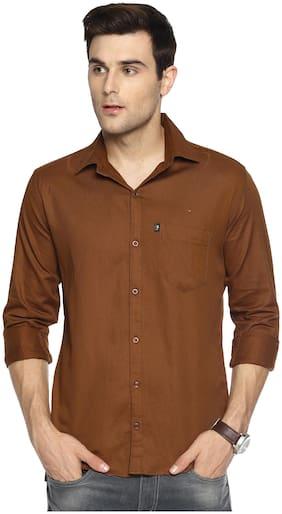 LEVIZO Men Regular fit Formal Shirt - Brown