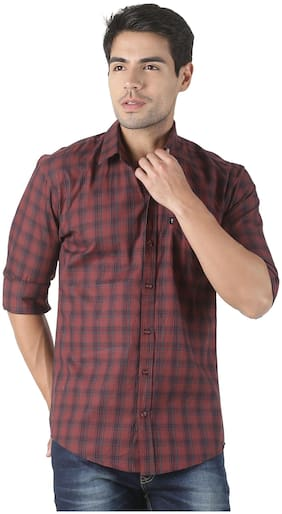 LEVIZO Men Brown Checked Regular Fit Casual Shirt