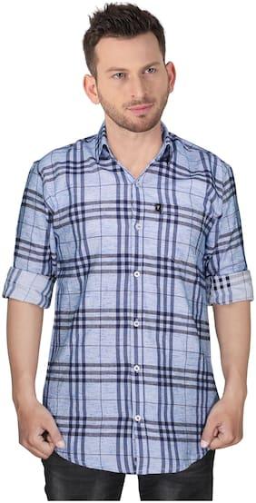 LEVIZO Men Blue Checked Regular Fit Casual Shirt