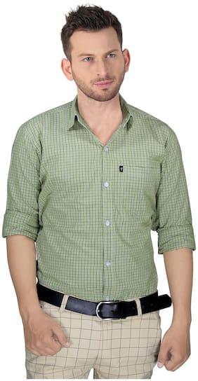 LEVIZO Men Green Checked Regular Fit Casual Shirt