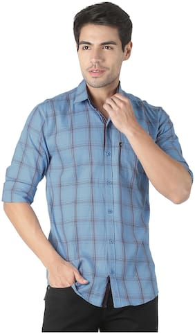 LEVIZO Men Blue Checked Regular Fit Casual Shirt