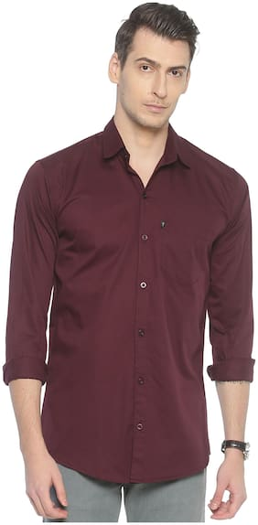 LEVIZO Men Purple Solid Regular Fit Casual Shirt