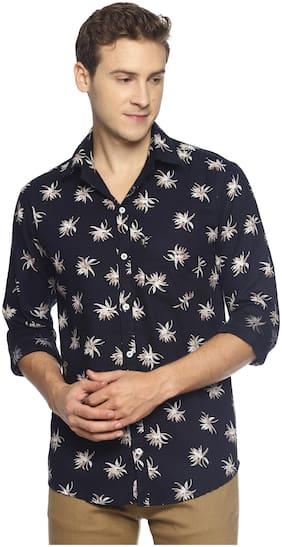 LEVIZO Men Blue Floral Regular Fit Casual Shirt